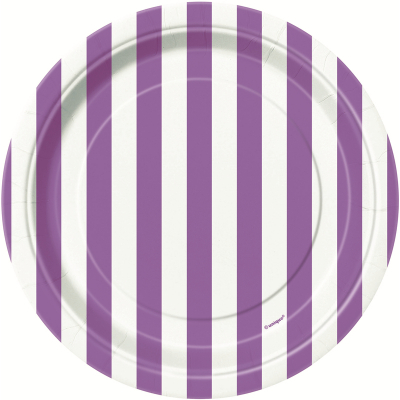 Stripes Purple 18cm Plates 8PK