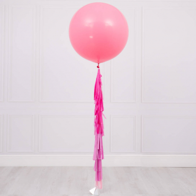 60cm Plain Colour Premium Latex Balloon with Helium & Weight & Tassel