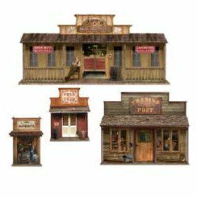 Western Wild West Town Wall Decorations Insta-Theme Props 4PK