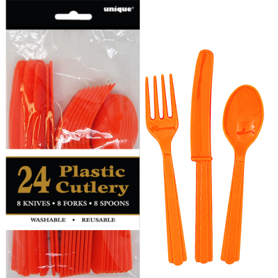 Cutlery Orange Inc Fork Spoon Knife 24PK