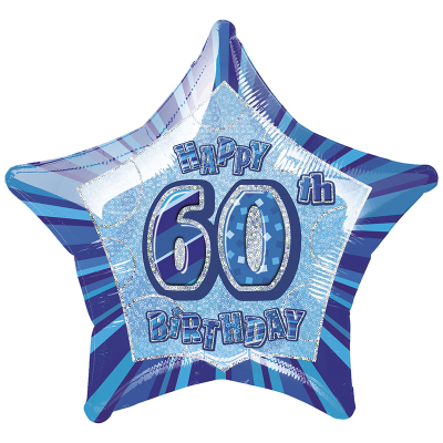 Glitz Birthday Blue Star Foil Balloon 60th
