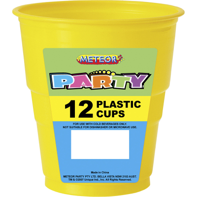 Plastic Cups 270ml Yellow 12PK
