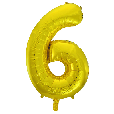 86cm 34 Inch Gaint Number Foil Balloon Gold 6 Inflated with Helium
