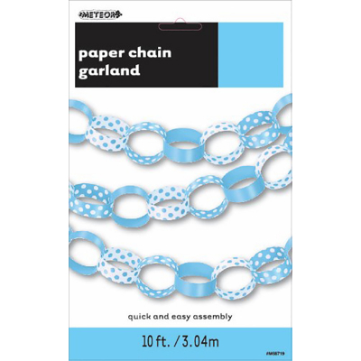 Polka Dots Paper Chain Pastel Blue