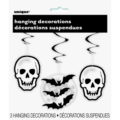 Skull & Bat Swirl Hanging Decoration 3PK