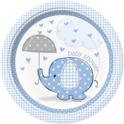 Umbrellaphants Blue 23cm Plates 8PK