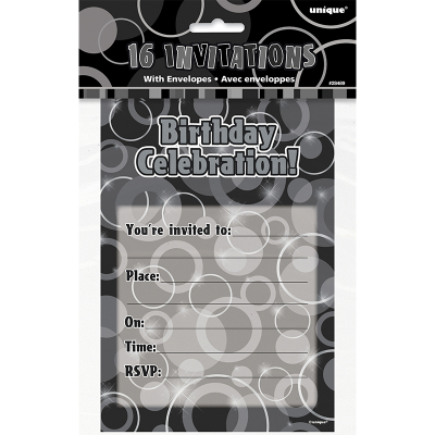 Glitz Birthday Black Invitations With Envelopes 16PK