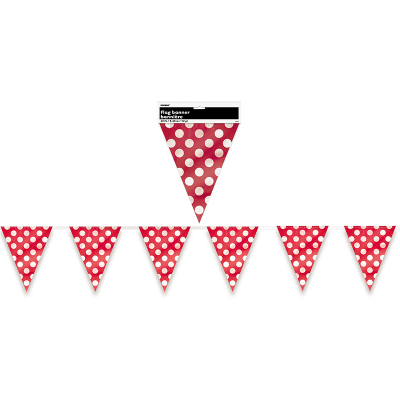 Polka Dots Flag Banner Ruby Red 12PK