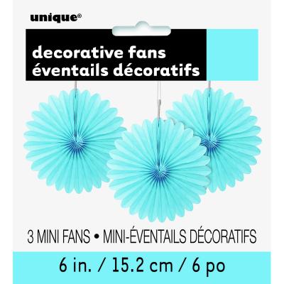 Hanging Decorative Fan 15cm Pastel Blue 3PK