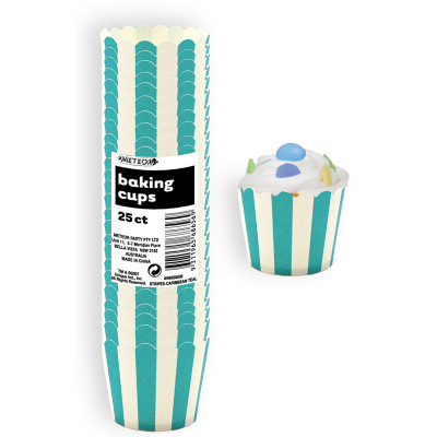 Stripes Teal Baking Cups 25PK