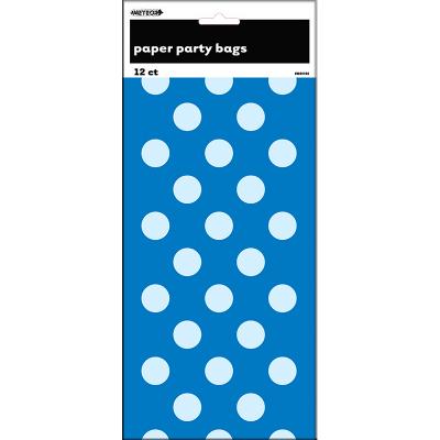 Polka Dots Paper Bags Royal Blue 12PK