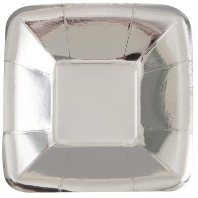 Metallic Silver Foil 13cm Paper Square Plates 8PK
