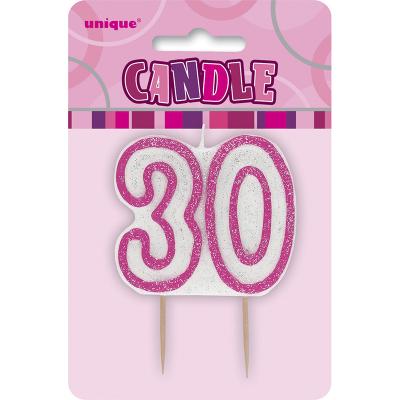 Glitz Birthday Pink Numeral Candle 30th