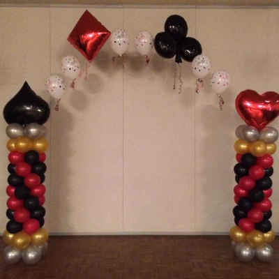 Column Arch with Casino Foil Balloon