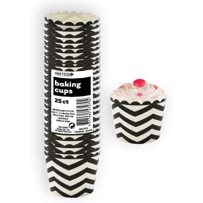 Chevron Baking Cups Black 25PK