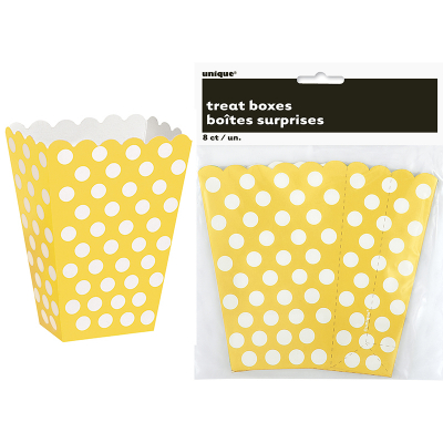 Polka Dots Treat Boxes Sunflower Yellow 8PK