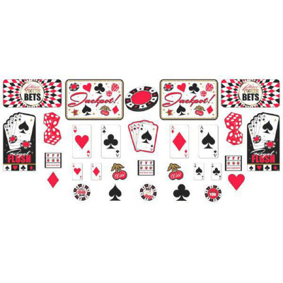 Casino Place Your Bets Cardboard Cutouts Assorted Sizes & Designs 30PK