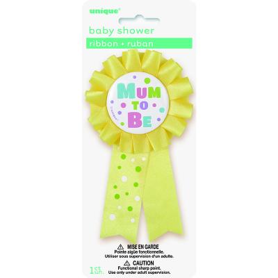 Mum To Be Award Ribbon -Yellow
