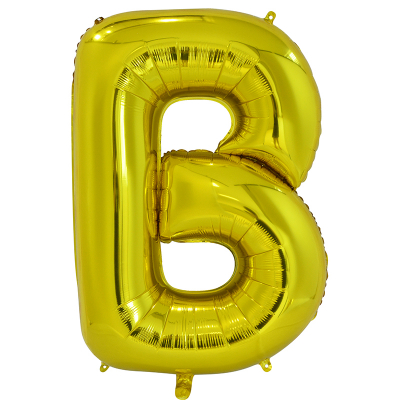 86cm 34 Inch Gaint Alphabet Letter Foil Balloon Gold B Inflated with Helium