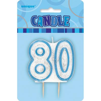 Glitz Birthday Blue Numeral Candle 80th