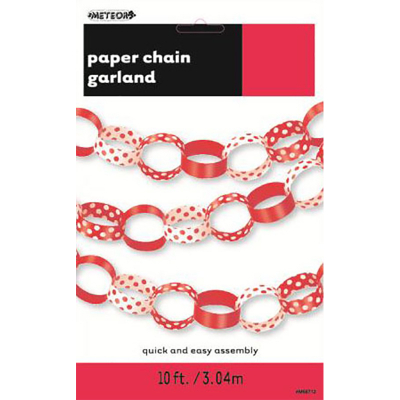 Polka Dots Paper Chain Ruby Red