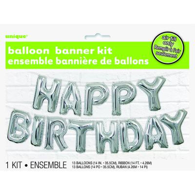 """Happy Birthday 14"""" Letter Foil Balloon Banner Kit 13PK"""