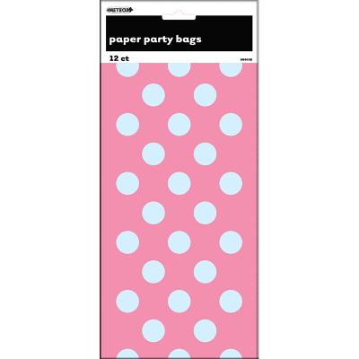 Polka Dots Paper Bags Hot Pink 12PK