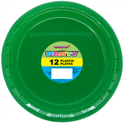 Plastic Around Plates 18cm Dark Green 12PK