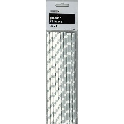 Polka Dots Paper Straws Silver 20PK