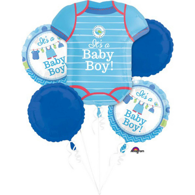 Bouquet Shower With Love Boy Foil Balloon 5PK