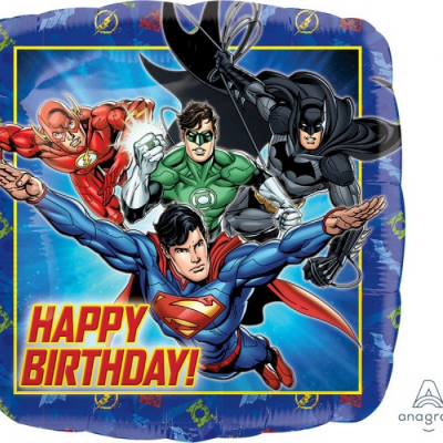 Justice League 45cm Standard Foil Balloon Happy Birthday