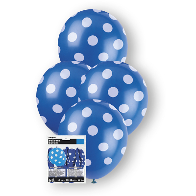 Polka Dots Balloon Royal Blue 6PK