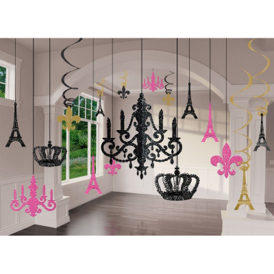 Day In Paris Chandelier Decorating Kit - Glitter 17PK