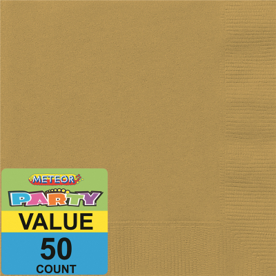 Beverage Napkins Gold 50PK