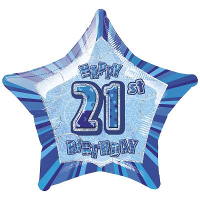 Glitz Birthday Blue Star Foil Balloon 21st