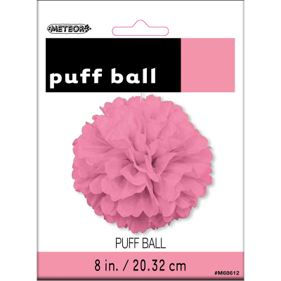 Hanging Puff Ball Decoration 20cm Hot Pink