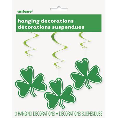 St Patrick's Day Shamrock Swirl Decorations 3PK