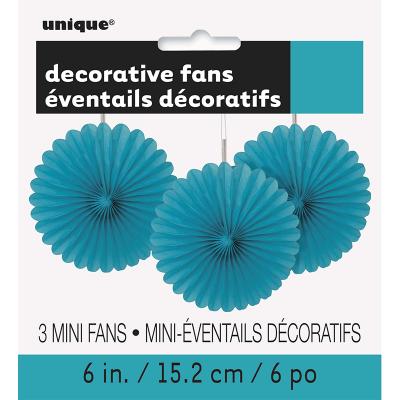 Hanging Decorative Fan 15cm Teal 3PK