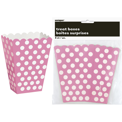 Polka Dots Treat Boxes Hot Pink 8PK