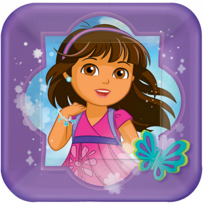Dora And Friends 17cm Square Plates 8PK
