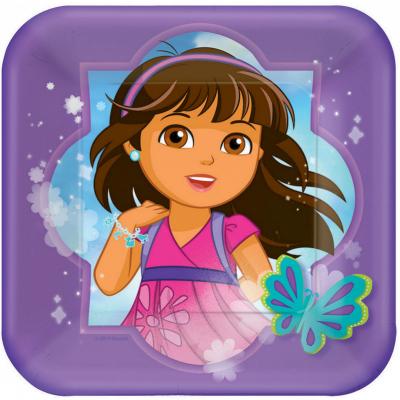 Dora And Friends 17cm Square Plates 8PK