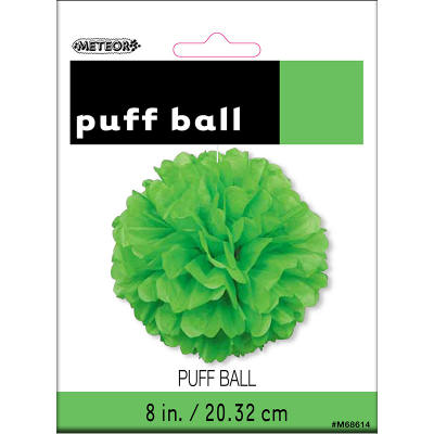 Hanging Puff Ball Decoration 20cm Lime Green