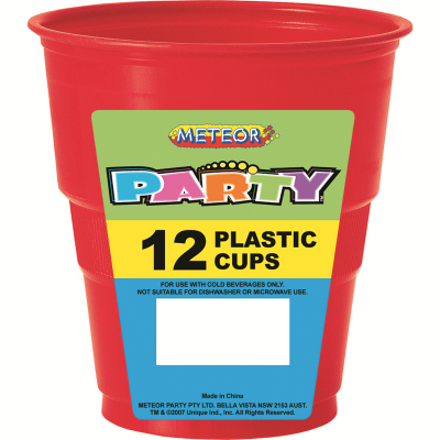 Plastic Cups 270ml Red 12PK
