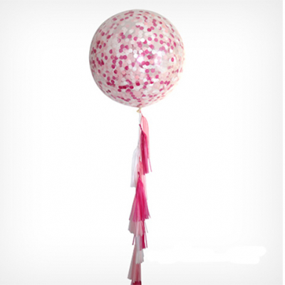 90cm Confetti Premium Latex Balloon with Helium & Weight & Tassel