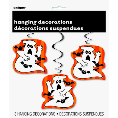 Hanging Swirls Ghost & Bats 3PK