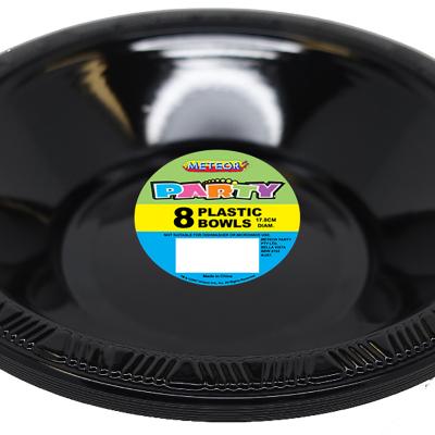 Plastic Bowls 18cm Black 8PK