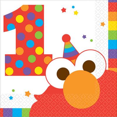 Elmo Turns One Beverage Napkins 16PK