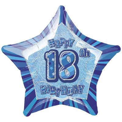 Glitz Birthday Blue Star Foil Balloon 18th