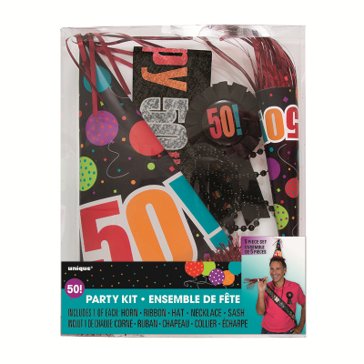Birthday Day Party Kit 50th Inc Horn Ribbon Hat Necklace Sash 5PK