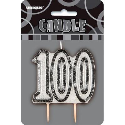 Glitz Birthday Black Numeral Candle 100th
